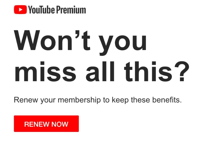 Renewal notification email example: YouTube