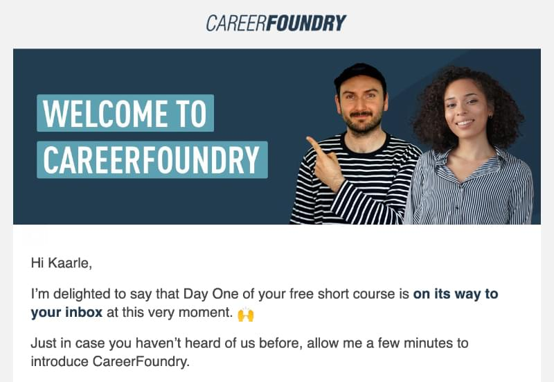 Email course first email example: CareerFoundry