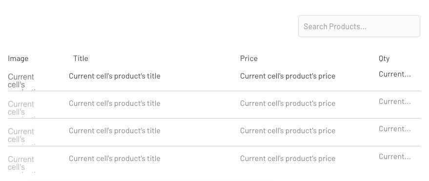 Lista de productos en Bubble