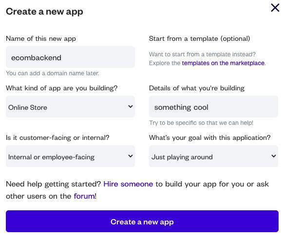 Crea una nueva aplicación