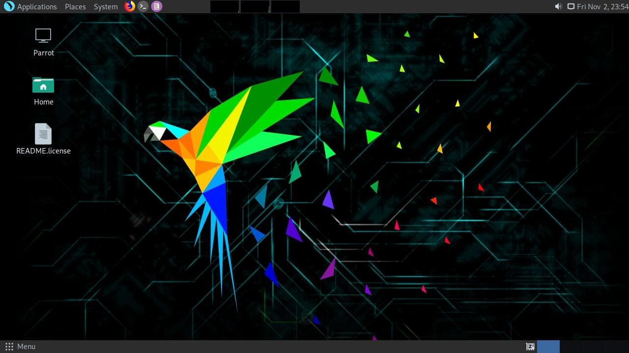 Parrot OS live environment