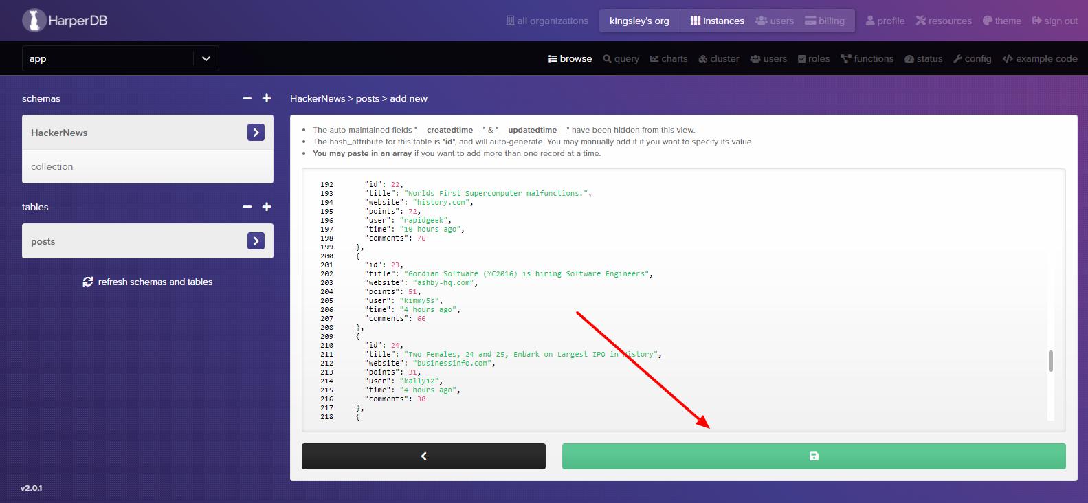 Inserting posts using JSON