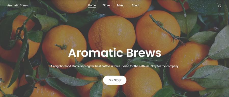 Aromatic brews: a demo website (cropped). Click to view the full image.