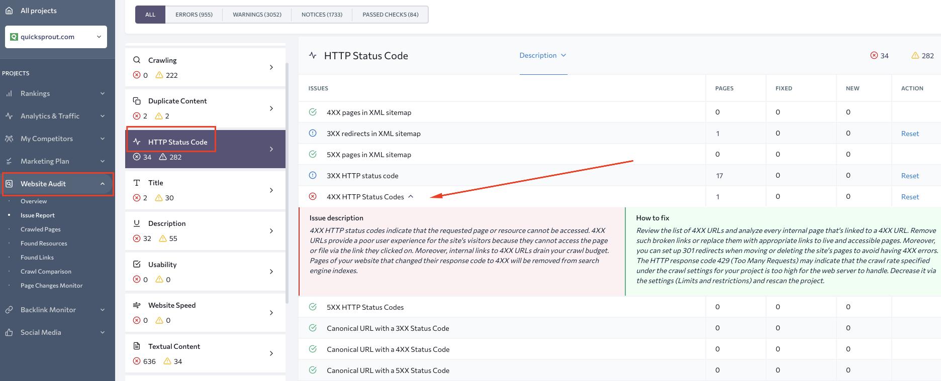 SE Ranking issue HTTP status code report