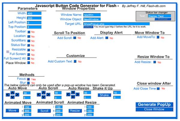 Flash DB JavaScript Button Code Generator