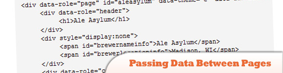 Mobile Passing Data Between Pages