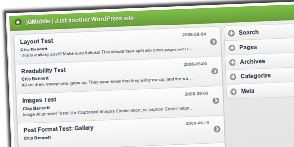 Free jQuery Mobile WordPress Themes