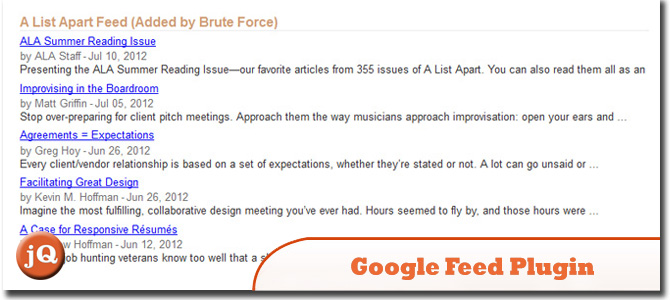 jQuery Google Feed