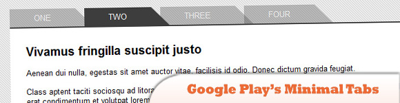Google Play's minimal tabs