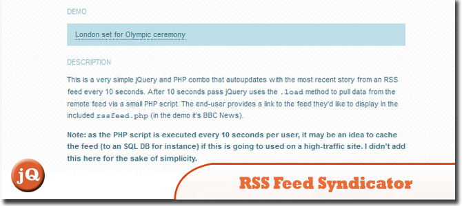 jQuery and PHP RSS Feed Syndicator