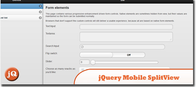 Jquery Mobile SplitView