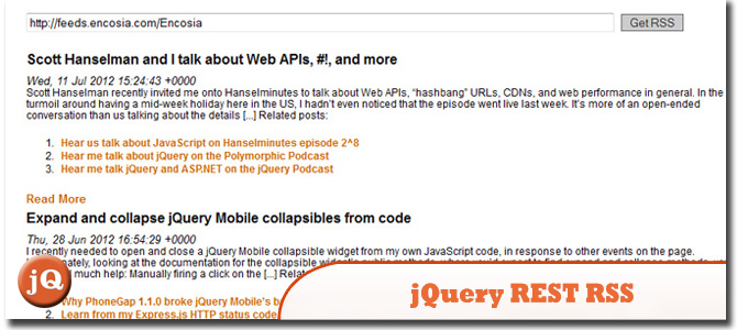 jQuery REST RSS Demo