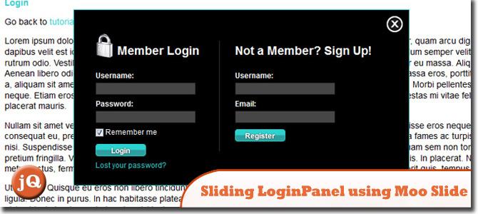 Sliding Login/Signup Panel