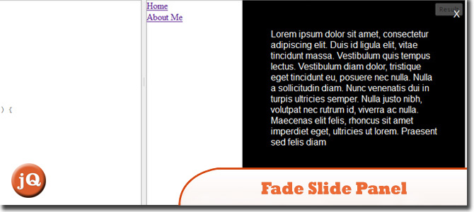 jquery fade slide panel