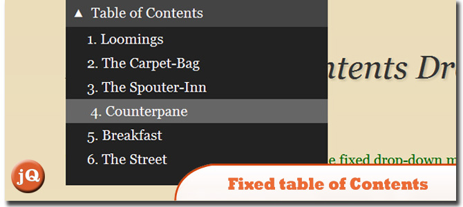 Fixed Table of Contents