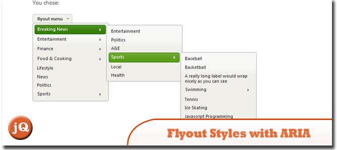 Flyout styles with ARIA Support