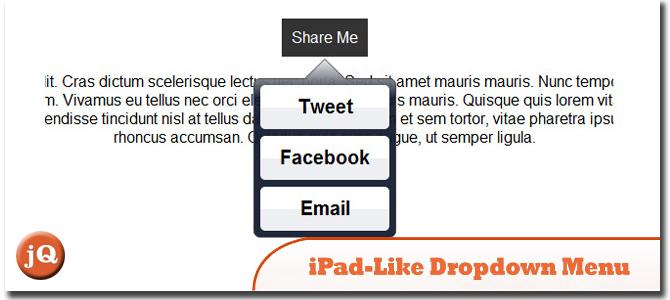iPad-like dropdown menu